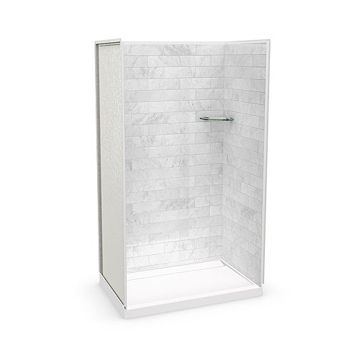 Utile 48-inch x 32-inch x 84-inch Marble Carrara Alcove Shower with Distinct Base Back-centre Drain