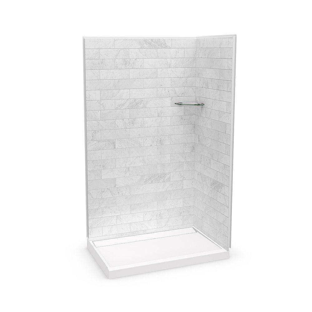 MAAX Ensemble de douche en coin, Utile Marbre Carrara, 48 x 32 x 84 po, base Distinct