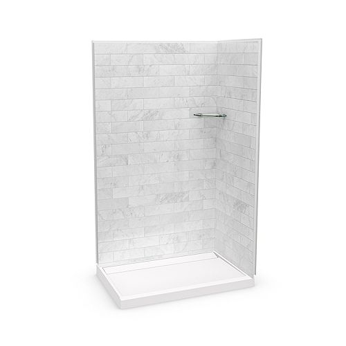 Utile 48-inch x 32-inch x 84-inch Marble Carrara Corner Shower with Distinct Base Back-centre Drain