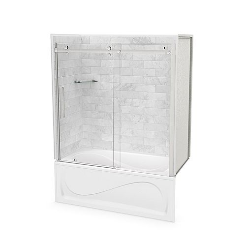 Utile 60-inch x 30-inch x 81-inch Marble Carrara Tub Shower Kit Left Drain with Door in Chrome