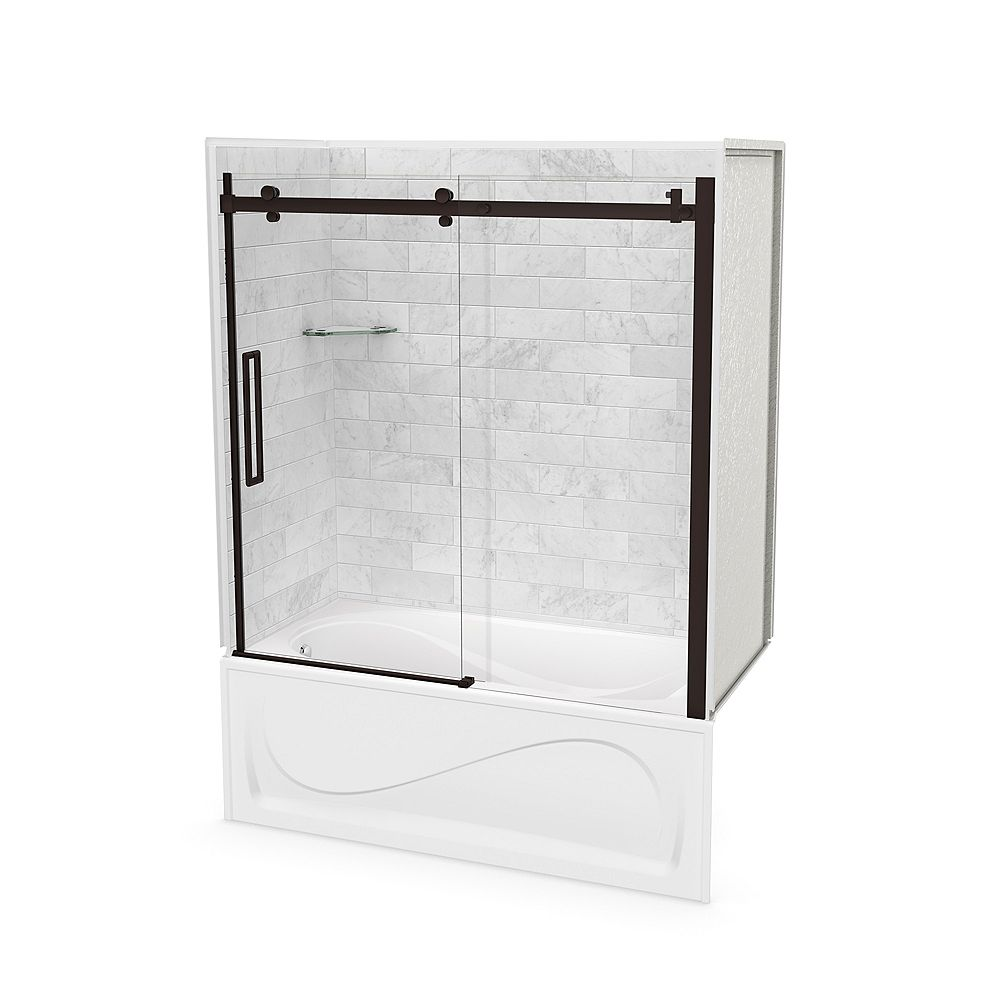 MAAX Utile 60-inch x 30-inch x 81-inch Marble Carrara Tub Shower Kit Left Drain with Door in Dark Bronze