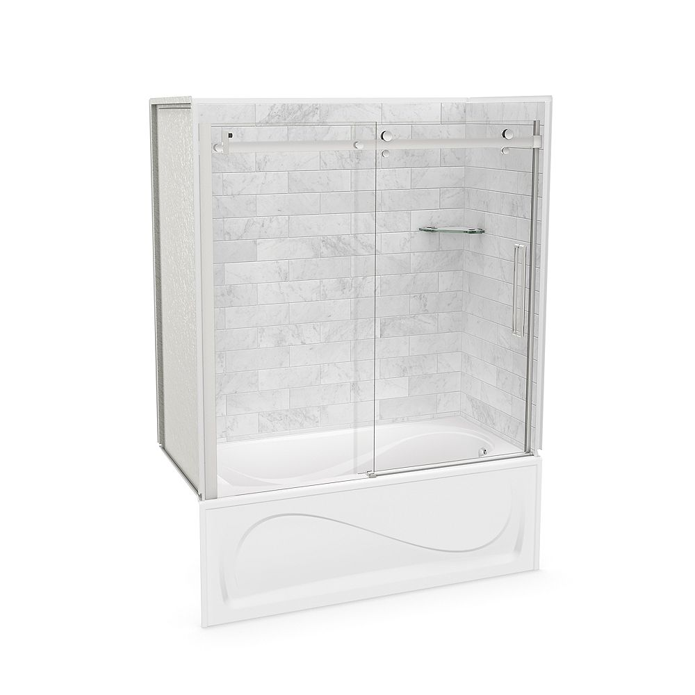 MAAX Utile 60-inch x 30-inch x 81-inch Marble Carrara Tub Shower Kit Right Drain with Door in Chrome