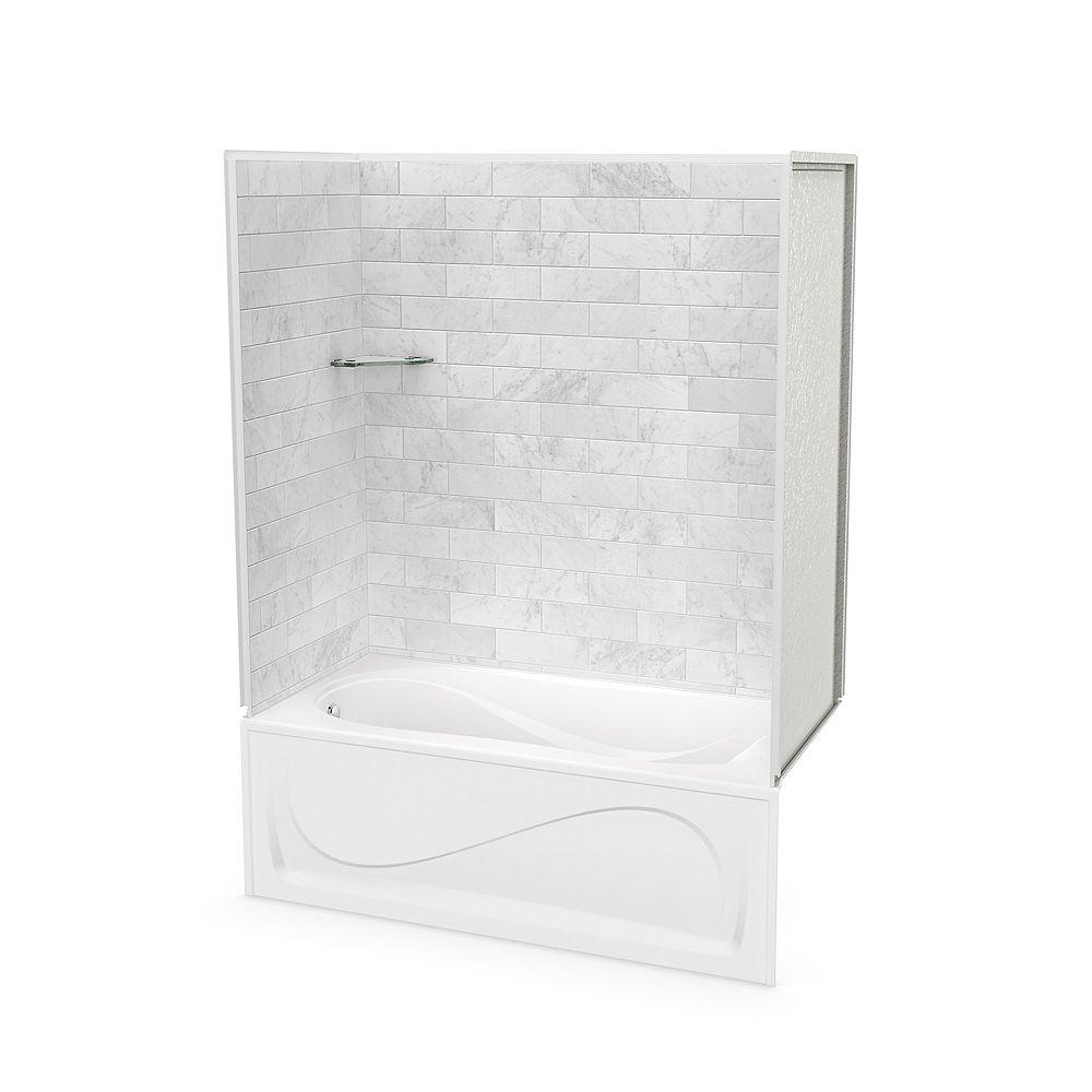 MAAX Combiné baignoire-douche, Utile Marbre Carrara, 60 x 30 x 81 po, bain Cocoon, drain à gauche