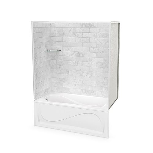 Utile 60-inch x 30-inch x 81-inch Marble Carrara Tub Shower with Cocoon Bathtub Left Drain