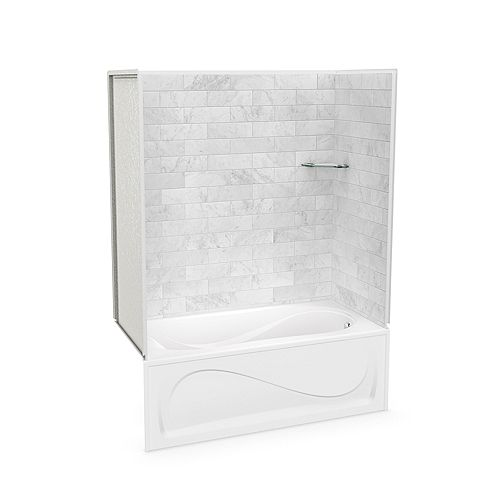 Utile 60-inch x 30-inch x 81-inch Marble Carrara Tub Shower with Cocoon Bathtub Right Drain