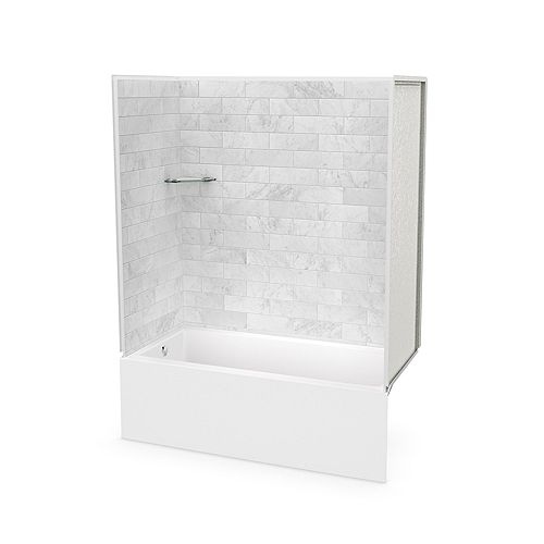 MAAX Utile 60 x 30 x 80-inch Marble Carrara Tub Shower with Bosca IFS AFR Bathtub Left Drain