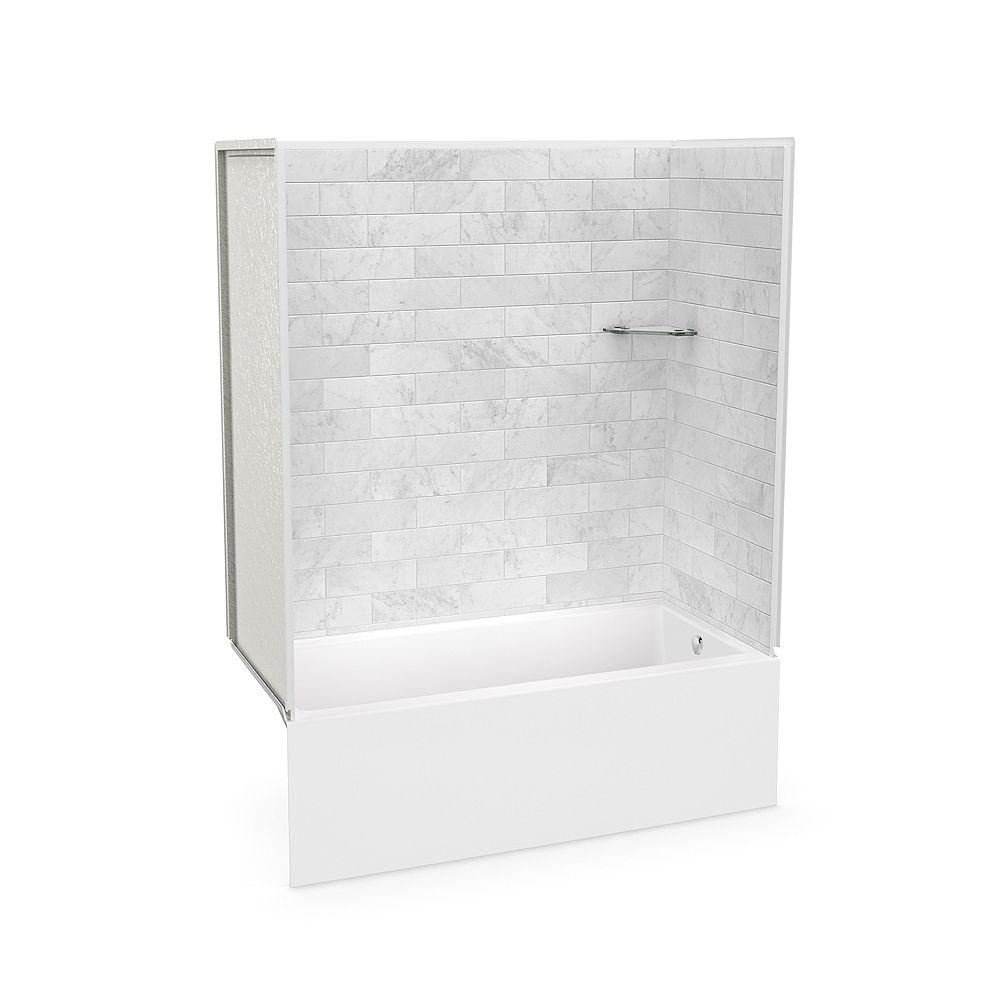 MAAX MAAX Utile 60 x 30 x 80-inch Marble Carrara Tub Shower with Bosca IFS AFR Bathtub Right Drain