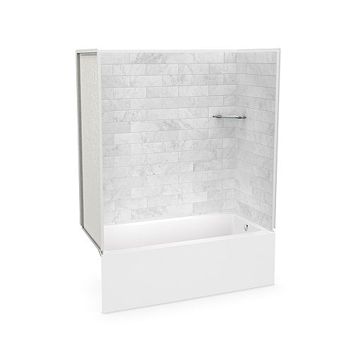 MAAX Utile 60 x 30 x 80-inch Marble Carrara Tub Shower with Bosca IFS AFR Bathtub Right Drain