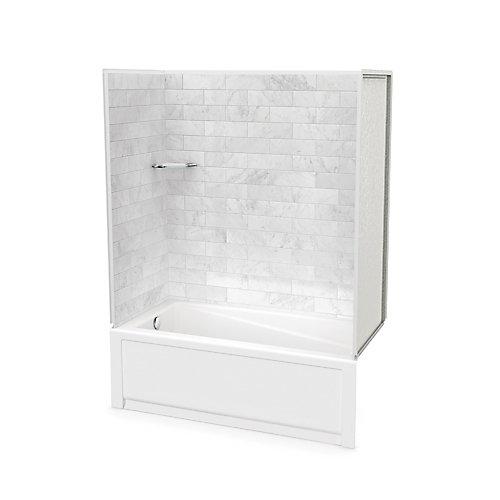 Utile 60-inch x 30-inch x 80 1/2-inch Marble Carrara Tub Shower with New Town Bathtub Left Drain