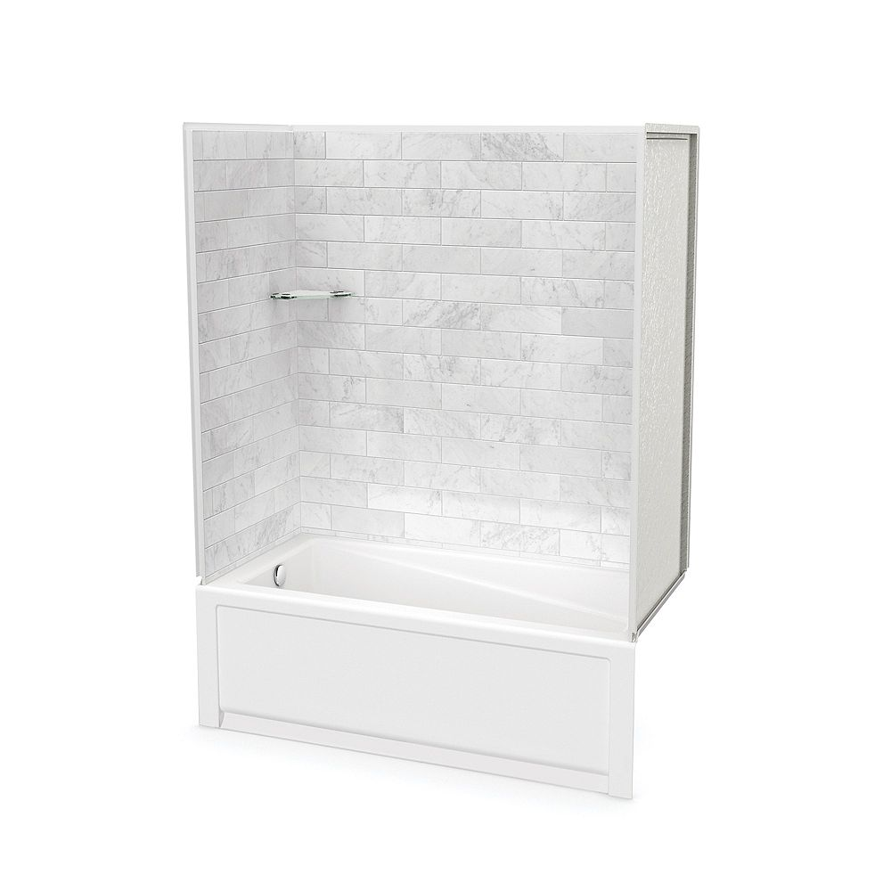 MAAX Utile 60-inch x 30-inch x 80 1/2-inch Marble Carrara Tub Shower with New Town Bathtub Left Drain