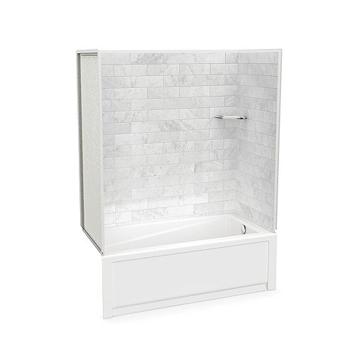 Utile 60-inch x 30-inch x 80 1/2-inch Marble Carrara Tub Shower with New Town Bathtub Right Drain