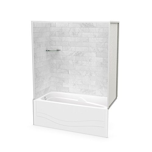 Utile 60-inch x 30-inch x 81 1/4-inch Marble Carrara Tub Shower with Avenue Bathtub Left Drain