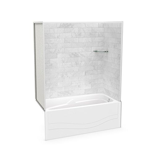 Utile 60-inch x 30-inch x 81 1/4-inch Marble Carrara Tub Shower with Avenue Bathtub Right Drain