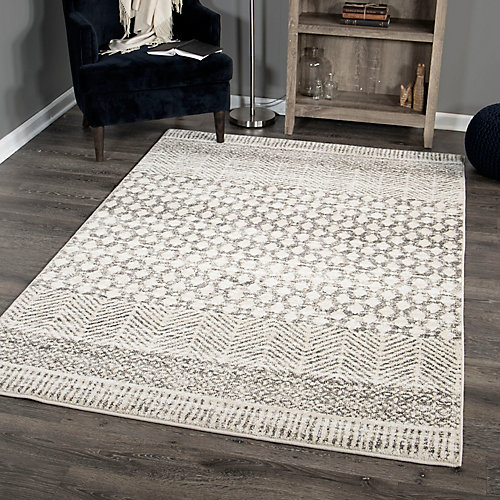 Punta De Flecha Light Grey 7 ft. 10-inch x 10 ft. 10-inch Area Rug