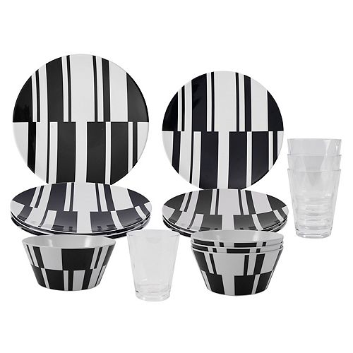 16-Piece dinnerware set-black & white