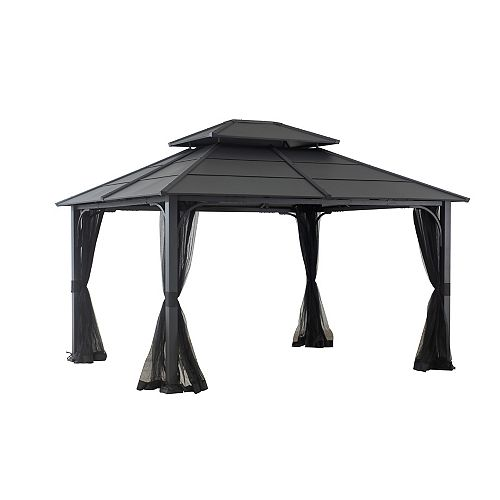 Farrington 12 ft. x 10 ft. Hard Top Gazebo in Graphite