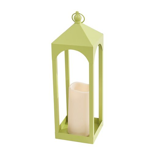 19.5-inch Large Metal Lantern with LED Candle in Pear Finish