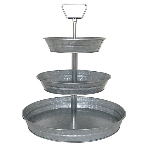3-Tier Galvanized Metal Tray