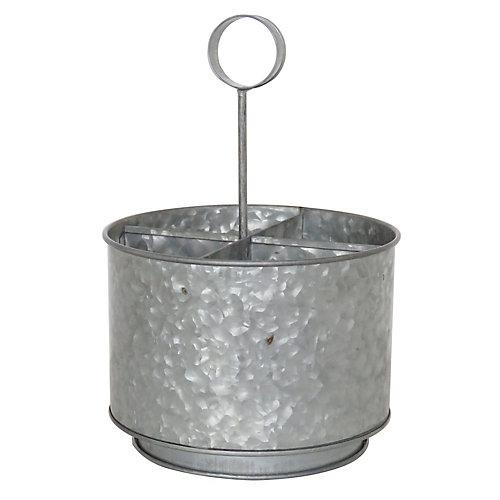 Round Galvanized Metal Caddy