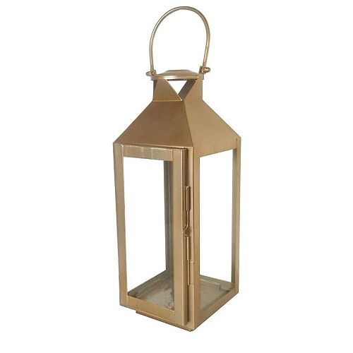 11-inch Metal Lantern in Gold Finish