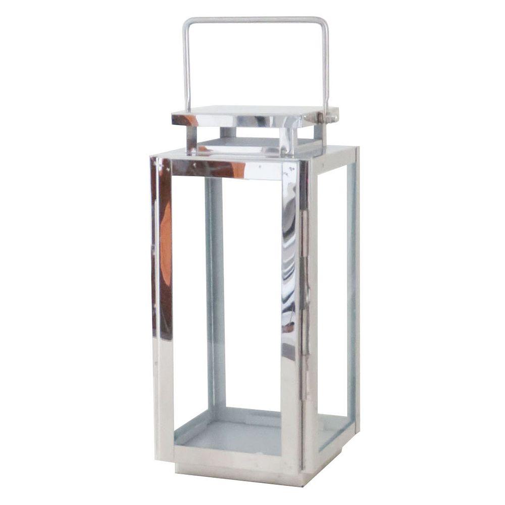 Hampton Bay 11-inch Metal Outdoor Lantern in Stainless Steel Finish