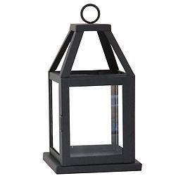 Lanterne, 11 po, métal et verre, noir