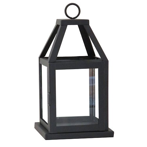 11-inch Metal and Glass Lantern in Black Finish