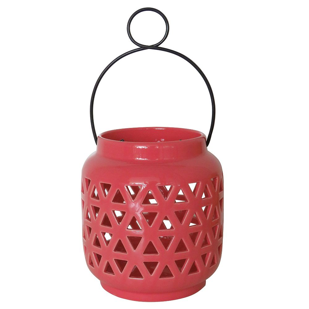 Hampton Bay 6.5 inch Ceramic Lantern-Spiced Coral Finish