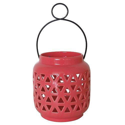 6.5 inch Ceramic Lantern-Spiced Coral Finish