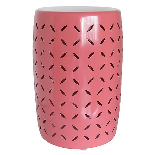 Metal Garden Stool in Spiced Coral Finish