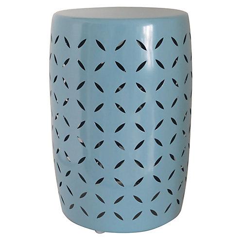Tabouret de jardin, métal, bleu porcelaine