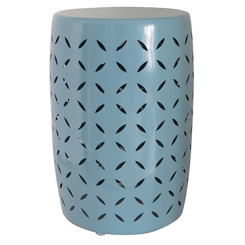 Metal Garden Stool in Porcelain Finish