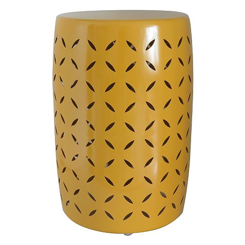 Metal Garden Stool in Old Gold Finish