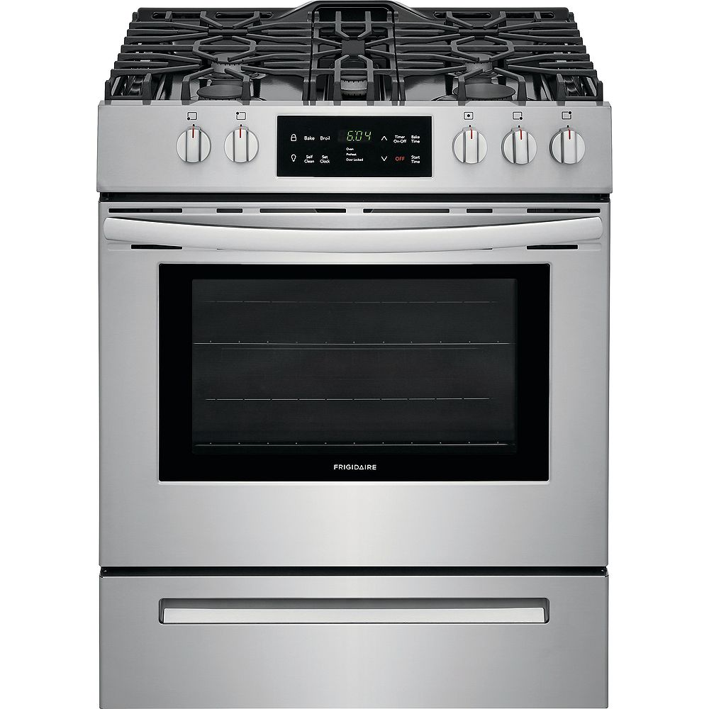 Frigidaire 30-inch 5.0 cu. ft. Front Control Freestanding Gas Range with Self-Cleaning Oven in Stainless Steel