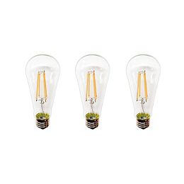 60W Clear Soft White ST19 Dimmable LED Light Bulb (3-Pack)
