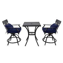 Ensemble repas surélevé de jardin avec fauteuil pivotant Coopersmith, acier, bleu, 3 pièces