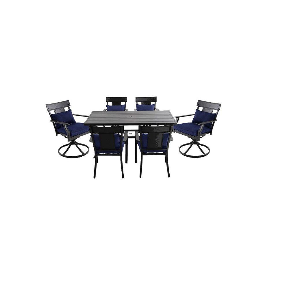 Hampton Bay Mobilier de salle à manger de 7 pièces en acier Coopersmith - Bleu marine