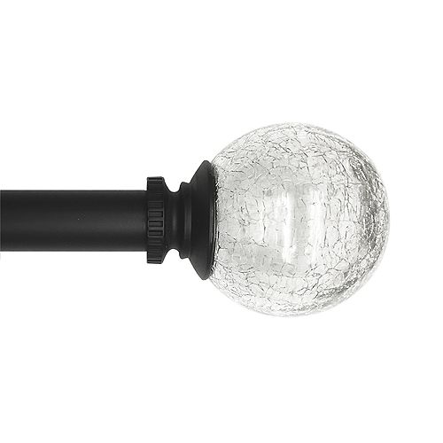 """Crackled Glass Sphere Finial for 1"""" Curtain Rod BK"""