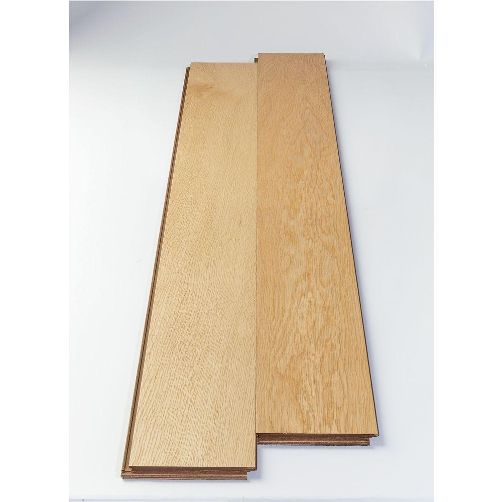 Rugged Floors Plancher avec sous-couche encollée, bois massif, 5 po de large, Chêne blanc, 25,84 pi2/boîte