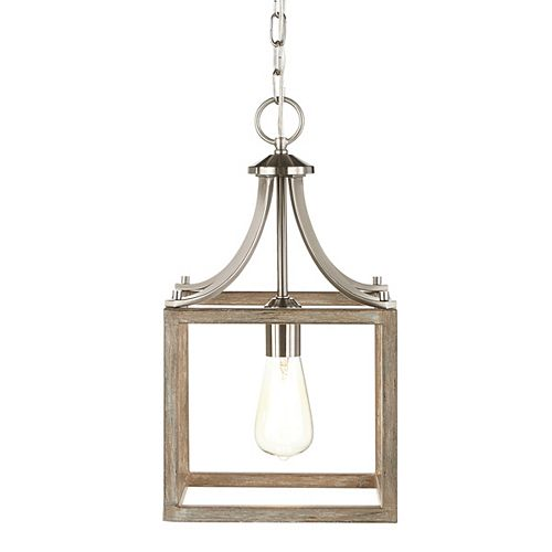 Mini luminaire suspendu à uneampoule BoswellQuarter, fini nickel brossé, touches de bois peint gris vieilli