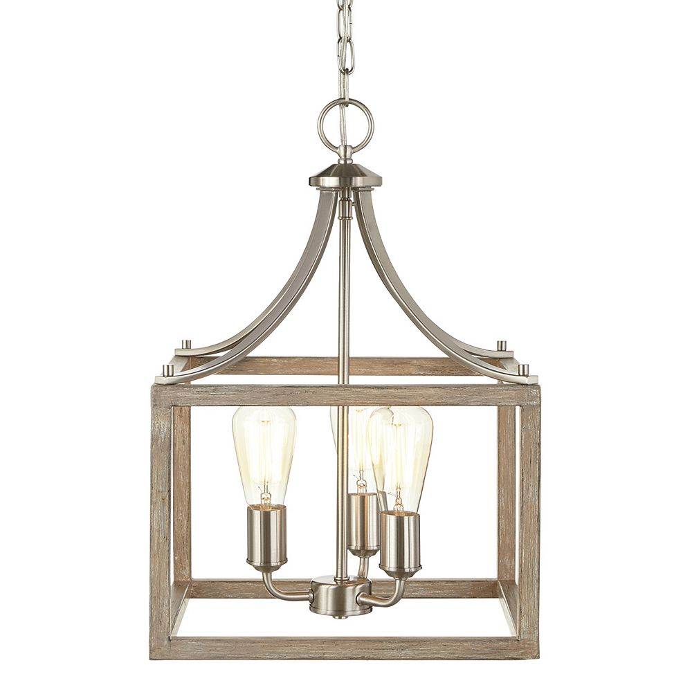 Boswell Quarter 322 inch 32 Light Brushed Nickel Dining Room Table with  Painted Weathered Gray Wood Accents