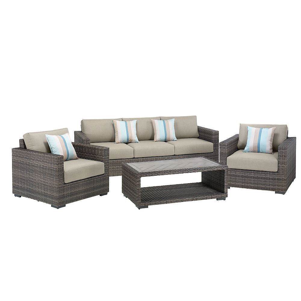 Home Decorators Collection Palmetto 4-Piece All-Weather Wicker Patio Chat Set with Grey Cushions