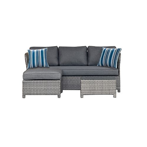 Napa 3-Piece Woven Patio Sectional with Charcoal Cushions