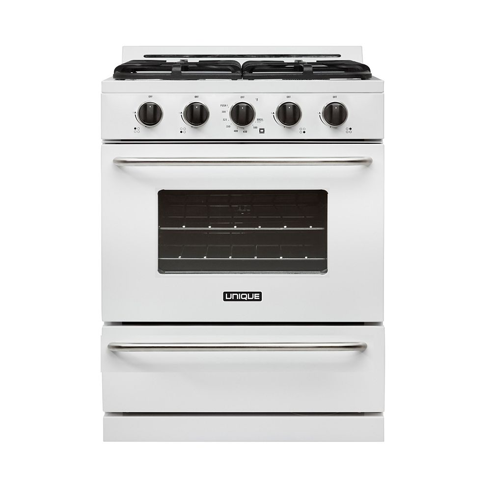 Unique Classic 30-inch 3.9 cu. Ft. Propane Off-Grid Range with Battery Ignition Sealed Burners in White
