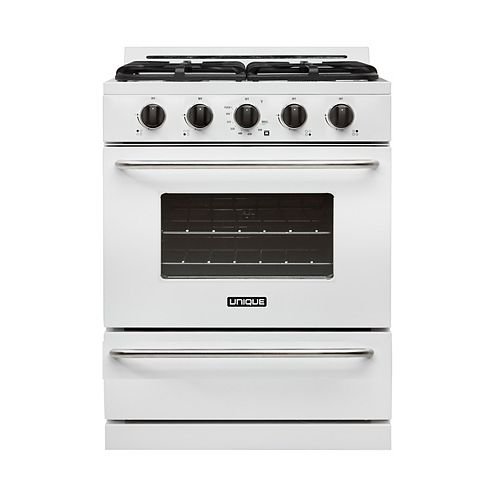 30-inch 3.9 cu. Ft. Propane Off-Grid Range with Battery Ignition Sealed Burners in White