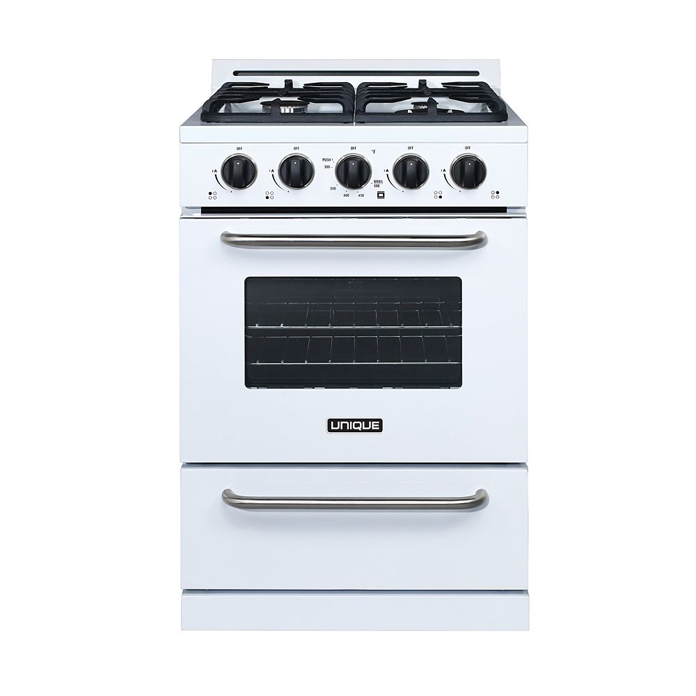 Unique Classic 24-inch 3.1 cu. ft. Propane Off-Grid Range with Battery Ignition Sealed Burners in White