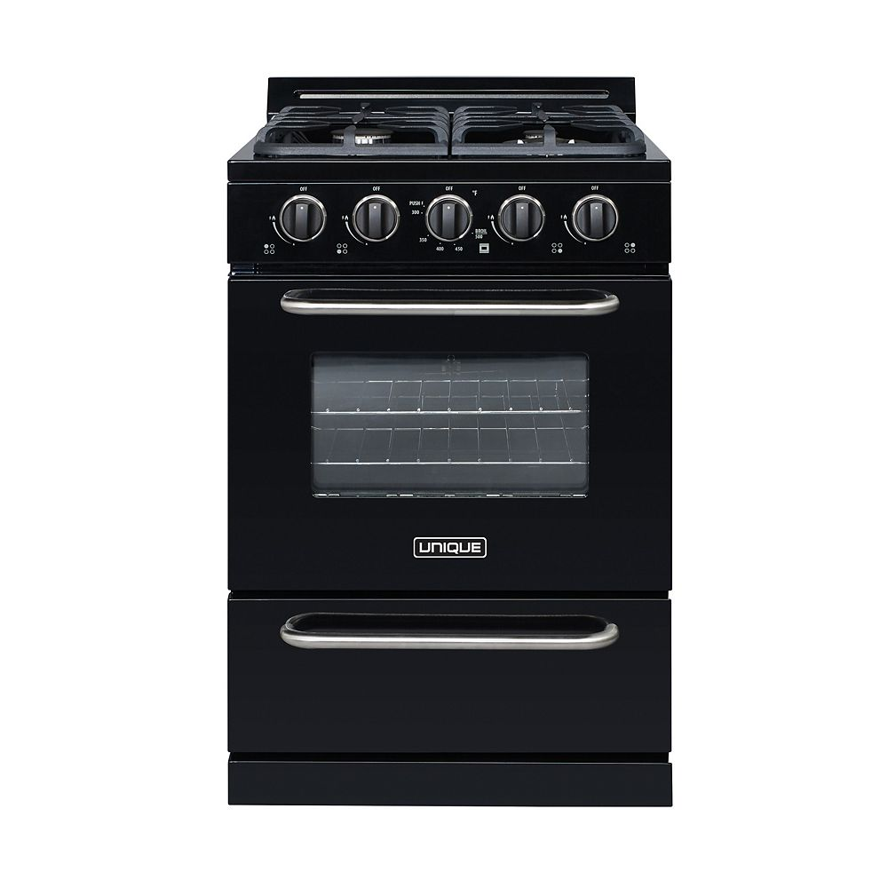 Unique Classic 24-inch 3.1 cu. ft. Propane Off-Grid Range with Battery Ignition Sealed Burners in Black