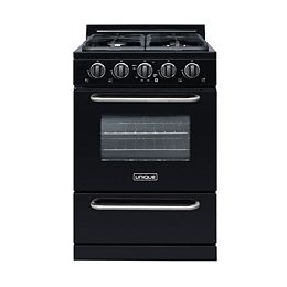 24-inch 3.1 cu. ft. Propane Off-Grid Range with Battery Ignition Sealed Burners in Black