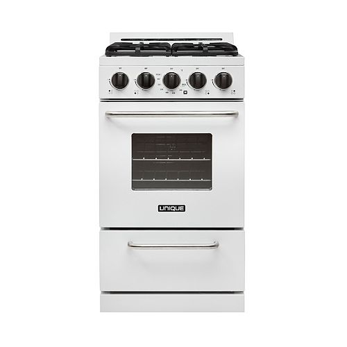 20-inch 2.4 cu. ft. Propane Off-Grid Range with Battery Ignition Sealed Burners in White