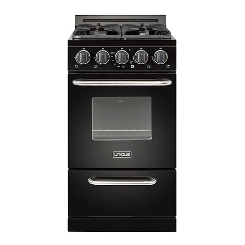20-inch 2.4 cu. Ft. Propane Off-Grid Range with Battery Ignition Sealed Burners in Black